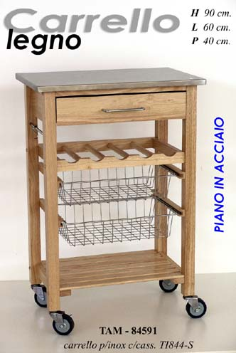 Carrello cucina iper robusto legno piano acciaio ebay - Carrello cucina acciaio ...